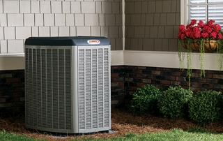 air conditioning unit in a back yard